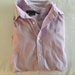 RALPH LAUREN Button down lavender shirt size 4